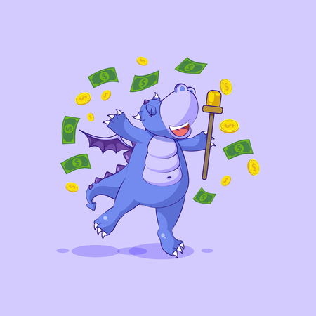 Vector Stock Illustration isolated Emoji character cartoon happy wealth riches dragon cub Reptilian creeper sticker emoticon jump for joy money celebrate profit dollar earning income salary.