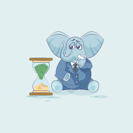 Vector Stock Illustration isolated Emoji character cartoon businessman sad elephant sticker emoticon sits at hourglass money goes as sand, losses, cost, spending, expense, charges site motion design Ilustração