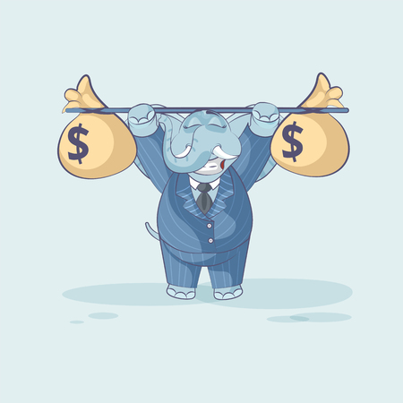 Vector Stock Illustration isolated Emoji character cartoon happy wealth riches elephant sticker emoticon raises barbell with bags of money profit dollar earning income salary video infographic element.