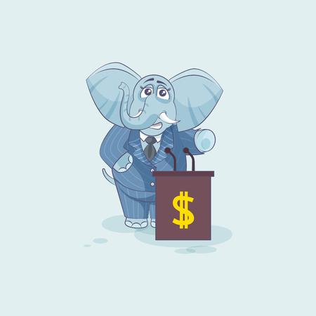 elephant orator speaker behind podium