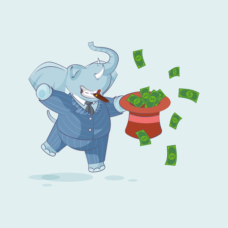 Vector Stock Illustration isolated Emoji character cartoon wealth riches elephant sticker emoticon jumping for joy with hat of money celebrate profit dollar earning income salary motion design.