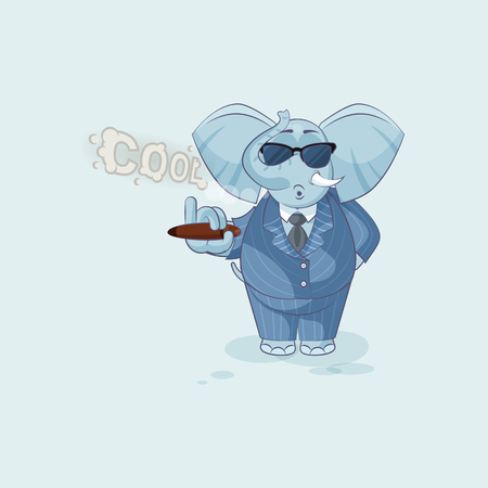 Vector Stock Illustration isolated Emoji character cartoon cool happy life, successful wealth riches businessman elephant sticker emoticon in business suit and sunglasses smoking cigar smoke rings