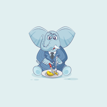 Vector Stock Illustration isolated Emoji character cartoon wealth riches businessman elephant sticker emoticon in business suit shares coin money profit dollar earning income salary currency, value