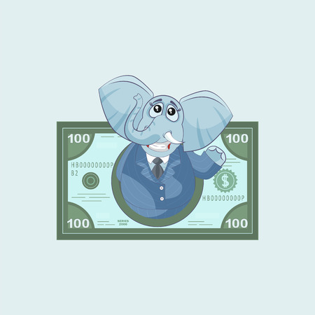 Vector Stock Illustration isolated Emoji character cartoon happy wealth riches businessman elephant sticker emoticon in suit money profit dollar earning income salary business for mobile motion design.