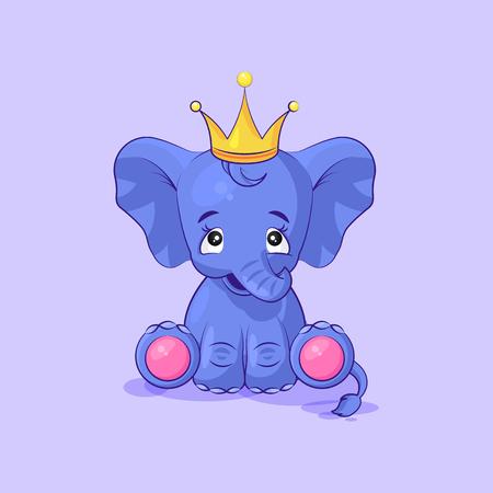 cielę słonia szczęśliwa i zadowolona naklejka emotikon Ilustracje wektorowe