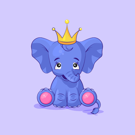 elephant calf happy and contented sticker emoticon Ilustracja
