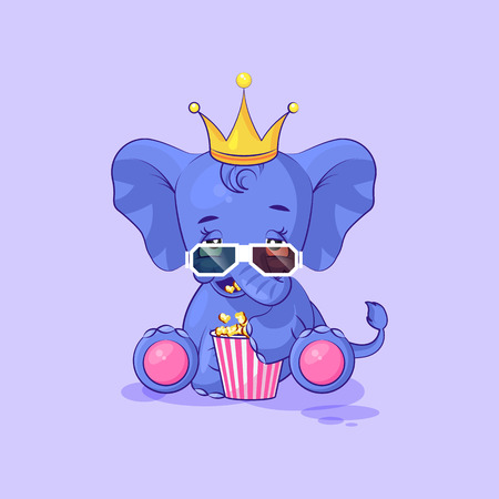 Vector Stock Illustration Emoji character cartoon elephant calf chewing popcorn, watching movie 3D glasses sticker emoticon for site, infographic, video, animation, website, mail, newsletter, report Ilustração