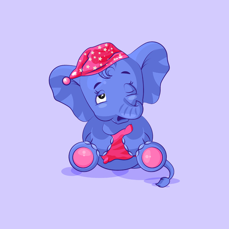 Vector Stock Illustration isolated Emoji character cartoon sleepy elephant calf in nightcap with pillow sticker emoticon for site, info graphic, video, animation, website, mail, newsletters, reports