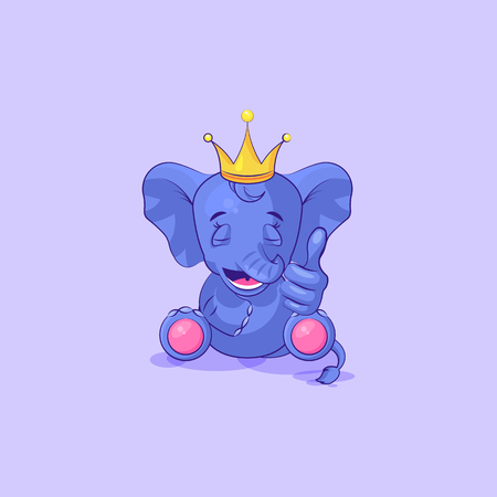 Vector Stock Illustration isolated Emoji character cartoon elephant calf approves with thumb up sticker emoticon for site, info graphics, video, animation, websites, mails, newsletters, reports
