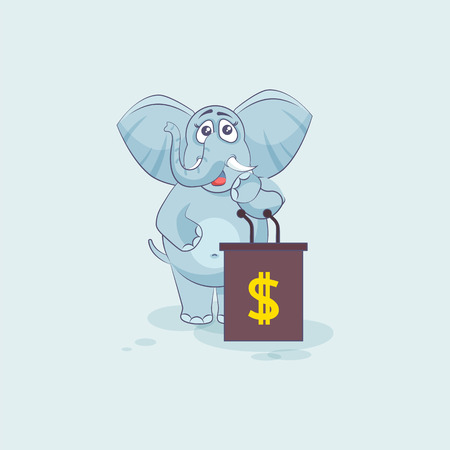 Vector Stock Illustration isolated Emoji character cartoon wealth riches elephant sticker emoticon training presentation orator speaker behind podium money celebrate profit dollar earning income
