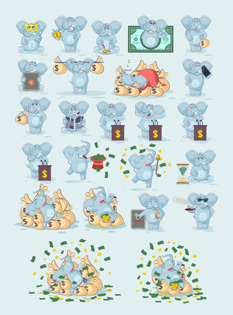Set kit collection Vector Stock Illustrations isolated money economy business cryptocurrency Bitcoin earnings income benefit profit Emoji character cartoon elephant stickers emoticons for infographics
