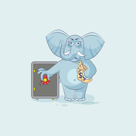 Vector Illustration isolated Emoji character cartoon wealth riches elephant business sticker emoticon open safe to hide money celebrate profit dollar earning income salary infographic motion design.