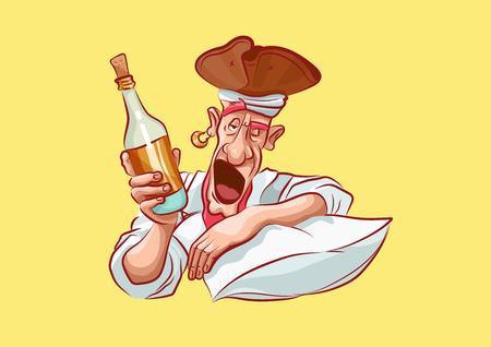 Illustration vectorielle personnage de dessin animé pirate mer voleur flibuster hacker Messieurs fortune emoji autocollant capitaine mascotte ivre alcoolique réveillé oreiller tenir bouteille alcool main bâillement émotion émoticône.