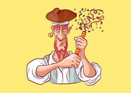 Vector illustration cartoon character pirate sea robber filibuster emoji sticker seaman captain sailor mascot streamer slapstick flapper petard serpentine confetti emotion emoticon isolated yellow Imagens - 124649332