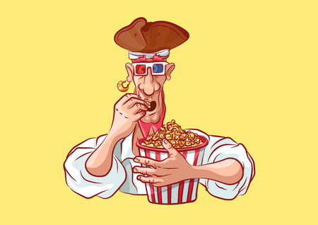 Vector illustration cartoon character pirate sea robber filibuster emoji sticker seaman captain sailor mascot eating popcorn in 3d glasses watching movie emotion emoticon isolated yellow background.