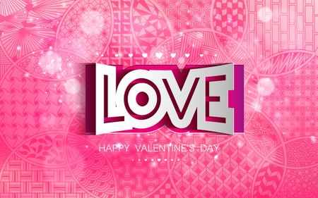 Stock vector illustration romantic gentle greeting Happy Valentine s Day pink pattern of zentangl doodle outline abstract shape with white inscription lettering love bokeh background