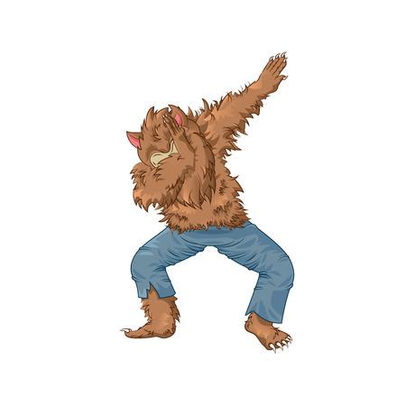 werewolf wolfman character dancing dab step
