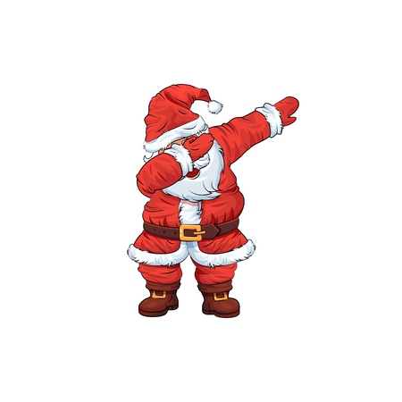 Santa Claus Charakter tanzen Dab Step da Vektorgrafik
