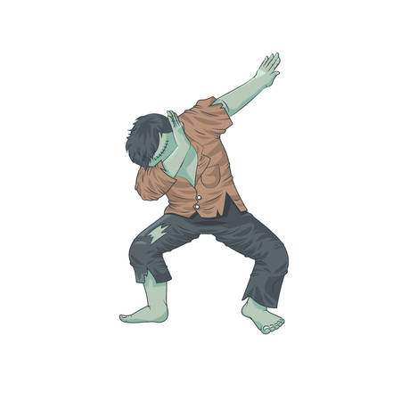 green monster dead man character dancing dab step