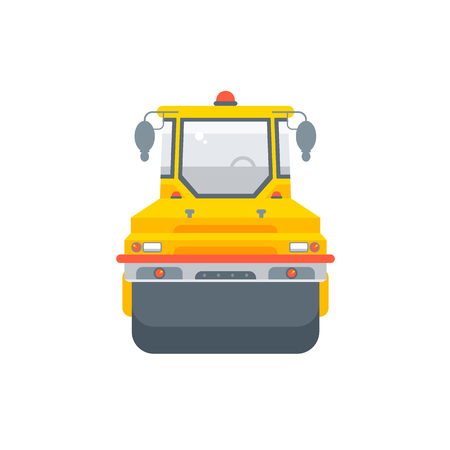 Stock vector isolated asphalt paver machine illustration front view, paving roads business building materials, design element flat style white background for motion design or infographic Vector Illustratie