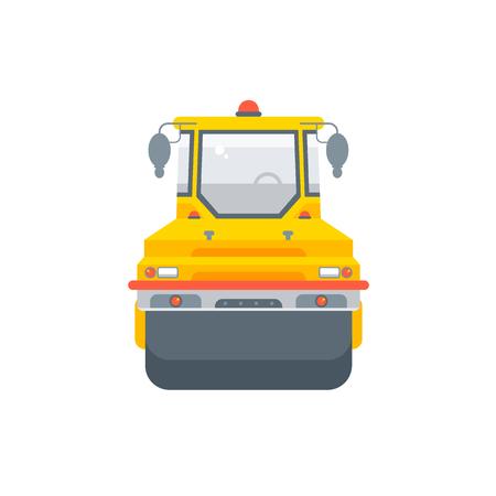 Vector stock isolé asphalte machine à paver illustration vue de face, matériaux de construction d'entreprise de pavage, élément de conception style plat fond blanc pour la conception de mouvement ou l'infographie Vecteurs