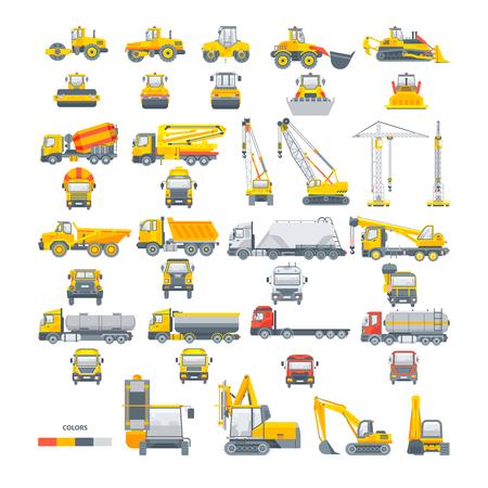 Establecer maquinaria vectorial Máquina de asfalto Ilustración de vector
