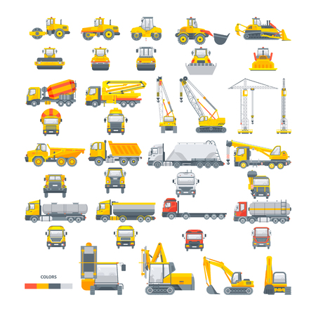 set macchine vettoriali Asfalto macchina Vettoriali