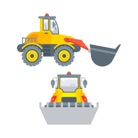 Stock vector isolated loader with bucket illustration side view and front view, transportation and business building materials, tractor, agrimotor design element in flat style on white background