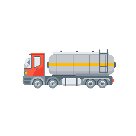 Stock vector isolated truck for oil, petrol, gasoline transporting illustration side view transportation and logistics business, lorry design element in flat style on white background