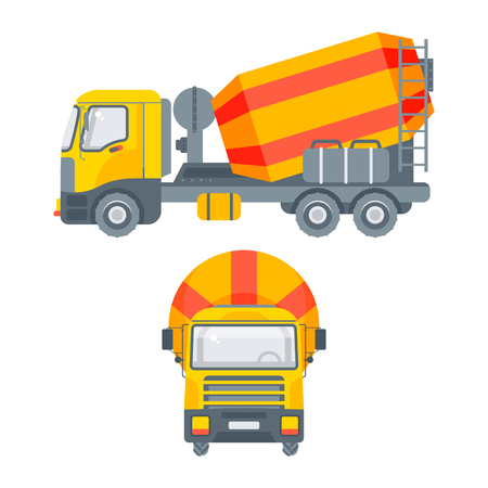 Stock vector isolated cement or concrete mixer truck illustration side view and front view, transportation and business delivery of building materials, design element in flat style on white background