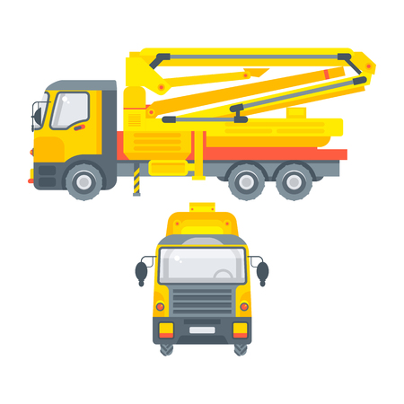 Stock vector isolated auto concrete pump car, special construction machinery, illustration side view and front view, business building materials, design element in flat style on white background