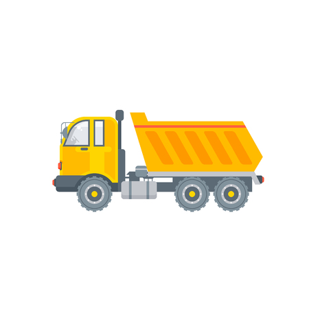 Stock vector isolated kipper truck illustration side view transportation and logistics business building materials, commercial vehicle lorry design element flat style white background