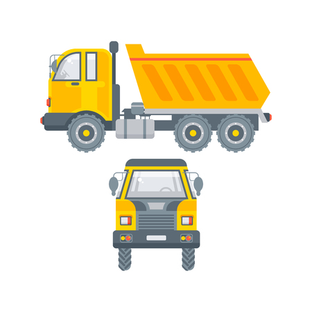 Stock vector isolated kipper truck illustration side view and front view, transportation and logistics business building materials, commercial vehicle lorry design element flat style white background
