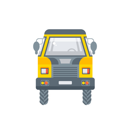 kipper truck illustration front view in flat style Illustration