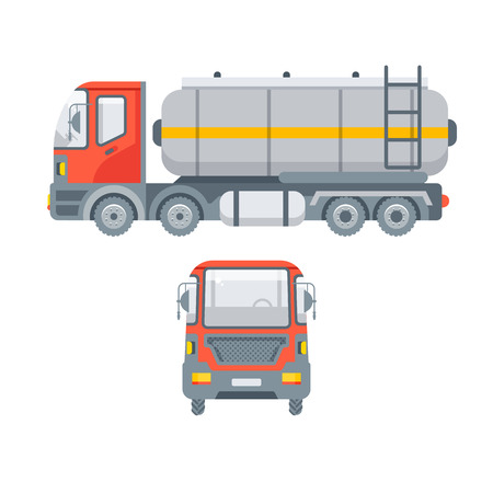 Stock vector isolated truck for oil, petrol, gasoline transporting illustration side view and front view, transportation and logistics business, lorry design element in flat style on white background