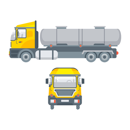 Stock vector isolated truck for water transportation illustration side view and front view, logistics business building materials, truck, lorry design element in flat style on white background
