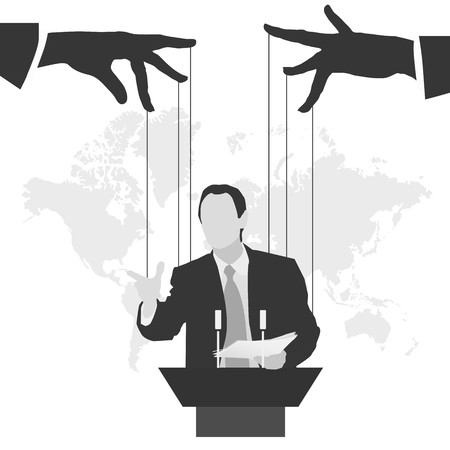 Vector illustration man speaker silhouette speech politics preaching presentation political party leader governing success marionette deception management puppet stooge mass media public speaking orator Vectores
