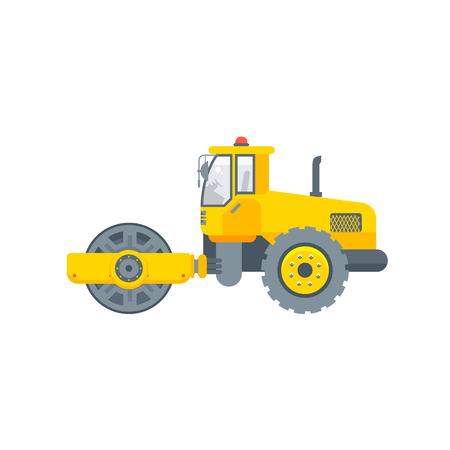 Stock vector isolated asphalt paver machine illustration side view, paving roads business building materials, design element flat style white background for motion design or infographic