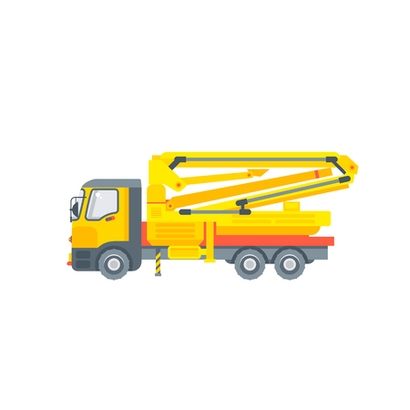 Stock vector isolated auto concrete pump car, special construction machinery, illustration side view business building materials, design element in flat style on white background