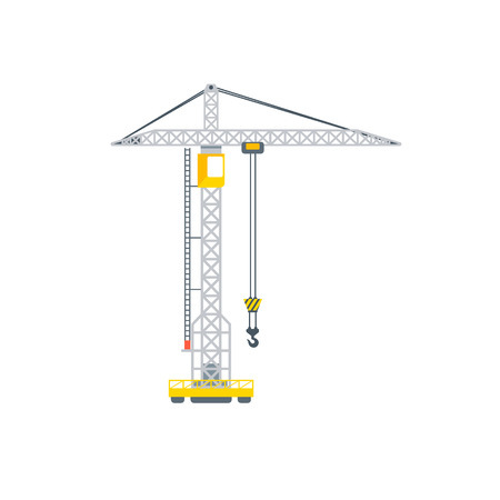 Stock vector isolated construction or assembly crane illustration side view transportation and moving business building materials, design element in flat style on white background