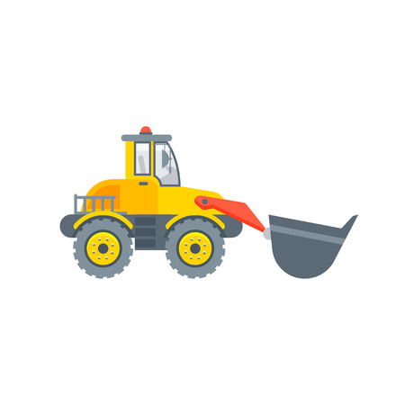 Stock vector isolated loader with bucket illustration side view, transportation and business building materials, tractor, agrimotor design element in flat style on white background Illustration
