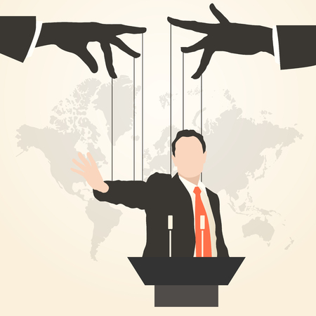 Vector illustration man speaker silhouette speech politics preaching presentation political party leader governing success marionette deception management puppet stooge mass media public speaking orator Çizim