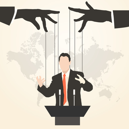 Vector illustration man speaker silhouette speech politics preaching presentation political party leader governing success marionette deception management puppet stooge mass media public speaking orator Ilustração