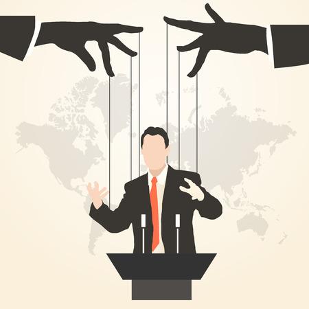 Vektor-Illustration Mann Sprecher Silhouette Rede Politik Predigt Präsentation politischer Parteiführer regiert Erfolg Marionette Täuschung Management Marionette Handlanger Massenmedien öffentlicher Redner Vektorgrafik