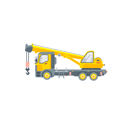 Stock vector isolated truck with crane for building material transportation illustration side view logistics business, lorry design element in flat style on white background