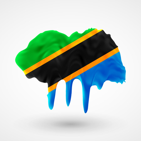 Stock vector isolated illustration Flag of Tanzania painted colors. Blot with paint streaks with the national colors. Independence Day. Visit to country learn language. News. International relations, economy.