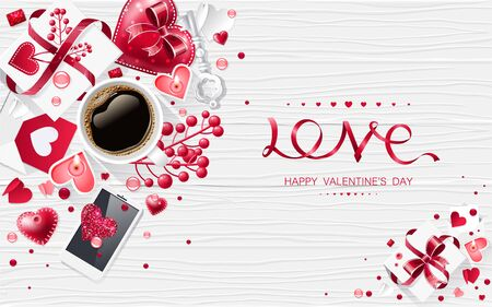 Valentine day love cup of coffee lettering web brochure flyer for advertising sale party design element wooden background Stock Vector - 137487116