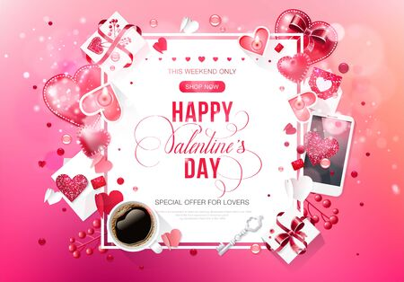 Valentine day love lettering bokeh web brochure flyer cup coffee for advertising sale party design element wooden background