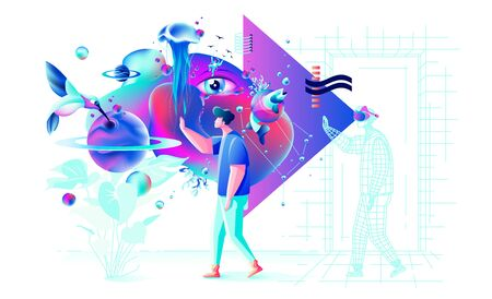 Abstract Xtreme colorful illustration VR technology man gamer cyberpower virtual reality