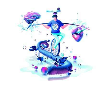 harmony illustration man circus performer riding unicycle on rope inner balance in hand equilibrium counterpoise between heart and brain Illusztráció